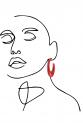 Earring - Totem #097 -      Red Ivory Look Light Plexi - Medium Hoop