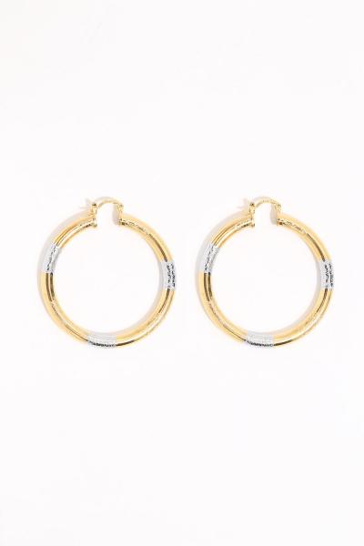 Earring - Totem #134- Gold/Silver Plated - Medium  Hoop Earring - Totem #134- Gold/Silver Plated - Medium  Hoop