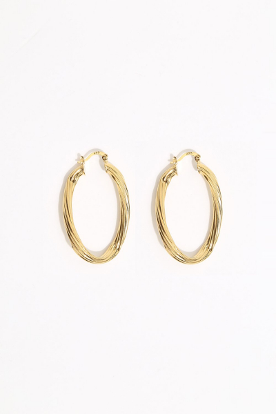 Earring - Totem #150- Gold Plated-  Medium Eclips Hoop Earring - Totem #150- Gold Plated-  Medium Eclips Hoop
