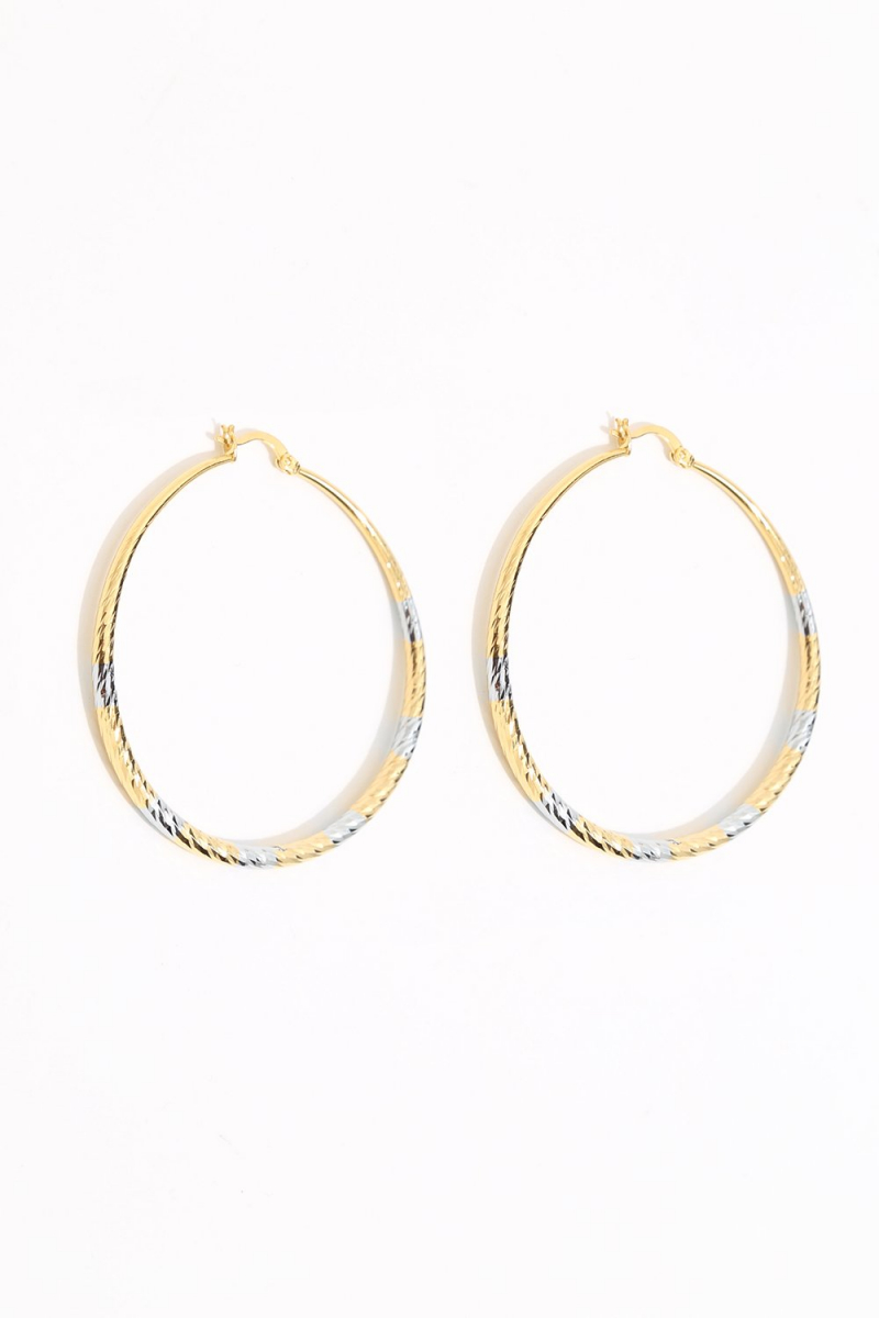 Earring - Totem #128- Gold/Silver Plated - Large  Hoop