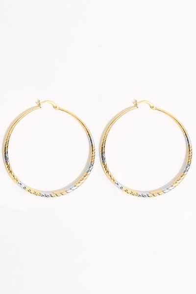 Earring - Totem #128- Gold/Silver Plated - Large  Hoop Earring - Totem #128- Gold/Silver Plated - Large  Hoop