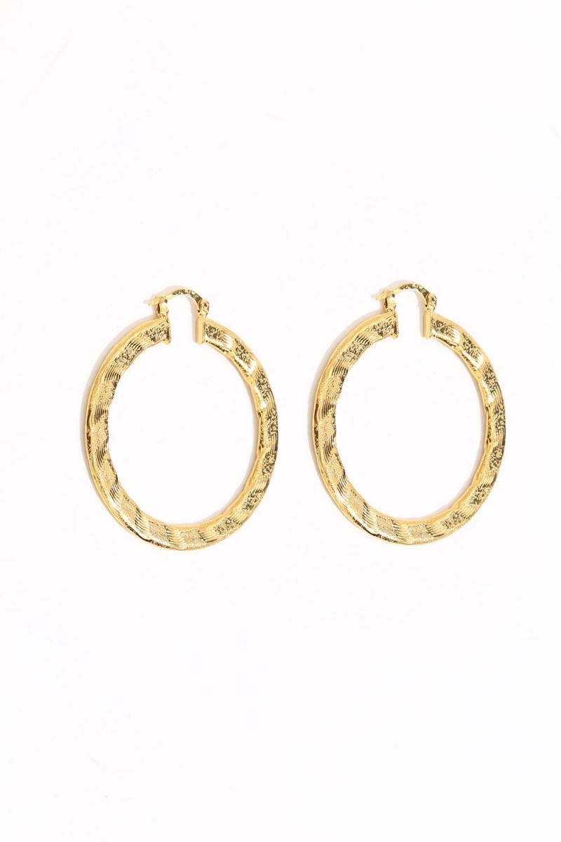 Earring - Totem #125- Gold Plated- Medium  Hoop