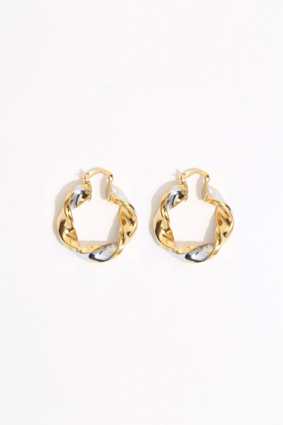 Earring - Totem #106 - Gold & Silver Plated Small  Hoop Earring - Totem #106 - Gold & Silver Plated Small  Hoop