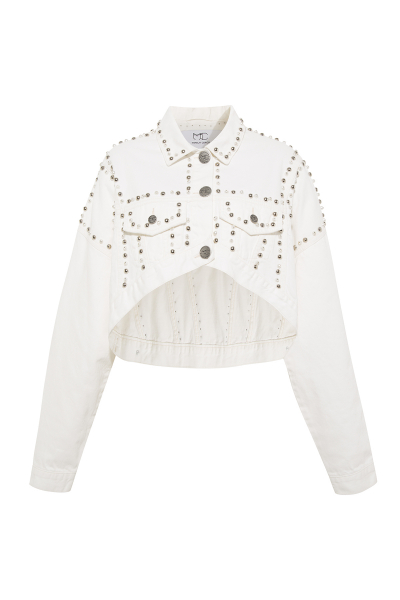 White Denim Jacket - With Luxurious Details - One Size S/M White Denim Jacket - With Luxurious Details - One Size S/M