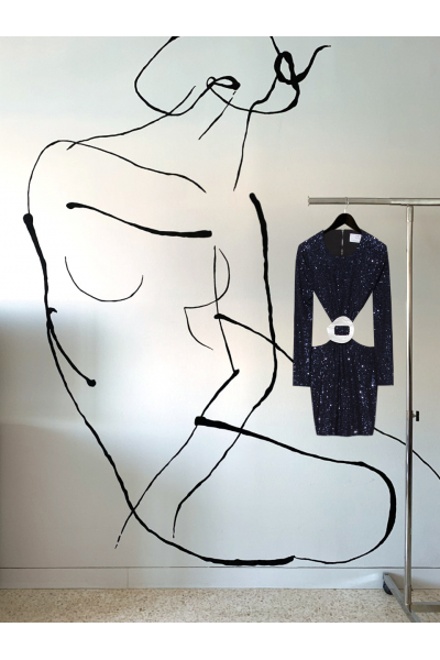 Date Night - #25- Dress- Midnight Blue - Real Seashell Belt Accessories Date Night - #25- Dress- Midnight Blue - Real Seashell Belt Accessories