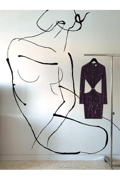 Date Night -  #28- Dress -Purple - Real Seashell Belt Accessories