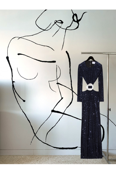 Date Night - #35 - Long Dress Midnight Blue - Real Seashell Belt Accessories Date Night - #35 - Long Dress Midnight Blue - Real Seashell Belt Accessories