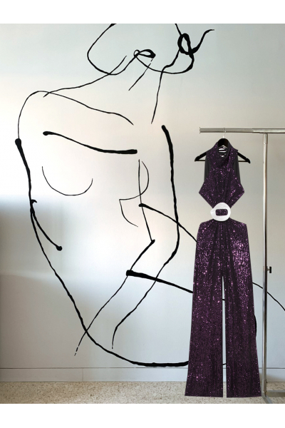 Date Night - #39 - Jumpsuit - Purple - Real Seashell Belt Accessories Date Night - #39 - Jumpsuit - Purple - Real Seashell Belt Accessories