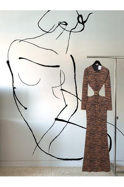 Date Night - #23- Long Dress Animal Printed- Real Seashell Belt Accessories Date Night - #23- Long Dress Animal Printed- Real Seashell Belt Accessories