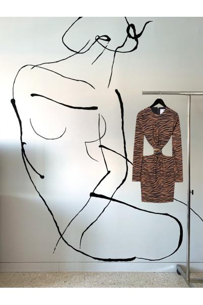 Date Night - #24- Dress Animal Printed- Plexi Belt Accessories Date Night - #24- Dress Animal Printed- Plexi Belt Accessories