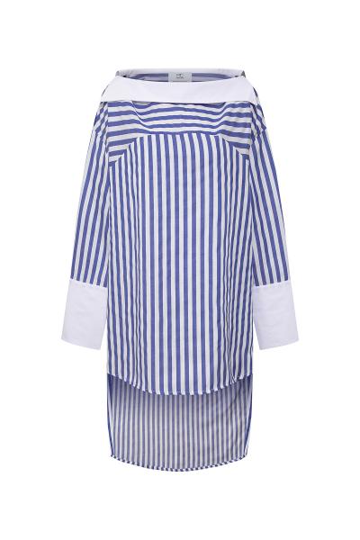 Carmen Collar Blue White Bold Stripe Shirt Carmen Collar Blue White Bold Stripe Shirt
