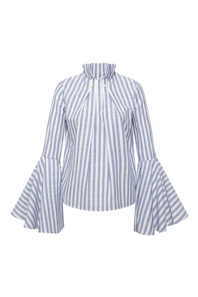 Pearl Brooch Blue and White Bold Stripe Shirt Pearl Brooch Blue and White Bold Stripe Shirt