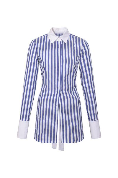 Sırtı Açık Gömlek - Mavi Beyaz  Sırtı Açık Gömlek - Mavi Beyaz