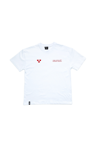 BASIC WHITE/RED HEART TEE