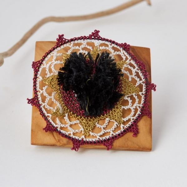 Egeli Ponpon Broş - Siyah