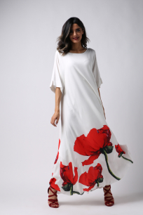 Women's Dress-Red Tulip-Free Arm