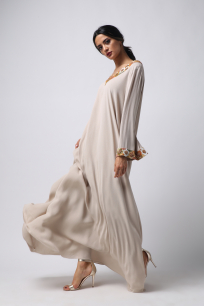 Women's Embroidered Dress-Beige