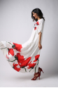 Women's Dress-Red Tulip-Embroidered