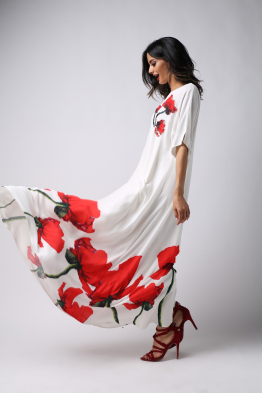 BOCAN Women's Dress-Red Tulip-Embroidered