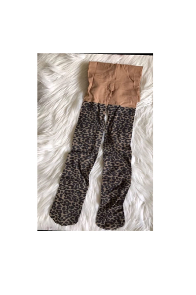 Kız Çocuk Kahverengi Leopar Desenli İnce Külotlu Çorap Kız Çocuk Kahverengi Leopar Desenli İnce Külotlu Çorap