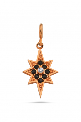 Linya Jewellery Kutup Yıldızı Charm Rose & Siyah Taşlı