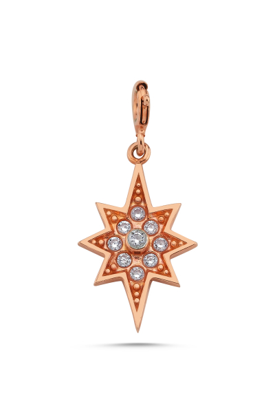 Linya Jewellery Kutup Yıldızı Charm Rose & Beyaz Taşlı
