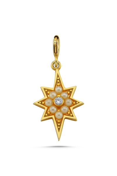 Linya Jewellery Kutup Yıldızı Charm Gold & İncili