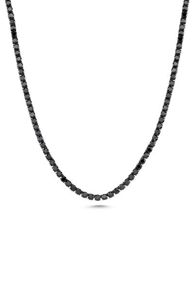 Misadel Bijoux Riviera Yuvarlak Kesim Uzun Siyah Su Yolu Kolye (80 CM)