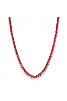 Misadel Bijoux Riviera Yuvarlak Kesim 3 Tırnaklı Kırmızı Uzun Su Yolu Kolye (80 CM)