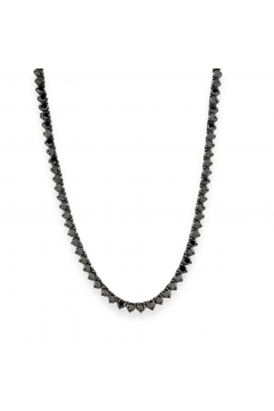 Misadel Bijoux Riviera Yuvarlak Kesim 3 Tırnaklı Siyah Uzun Su Yolu Kolye (80 CM)