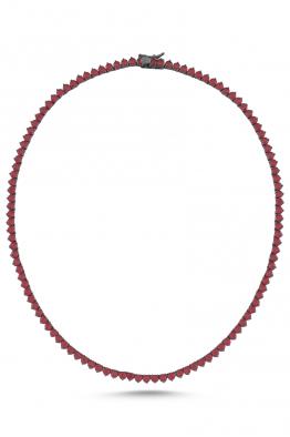 Misadel Bijoux Riviera Yuvarlak Kesim Kırmızı  Su Yolu Kolye (45 CM)