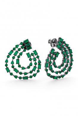 Misadel Bijoux Francesca Üçlü Yeşil Siyah Halka Küpe