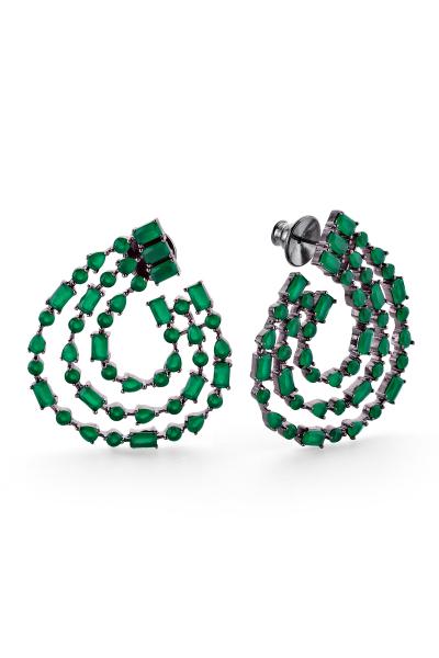 Francesca Üçlü Yeşil Siyah Halka Küpe Francesca Üçlü Yeşil Siyah Halka Küpe