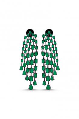 Misadel Bijoux Esthelle Yeşil Siyah Sallantılı Küpe