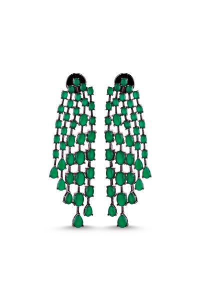 Esthelle Yeşil Siyah Sallantılı Küpe Esthelle Yeşil Siyah Sallantılı Küpe