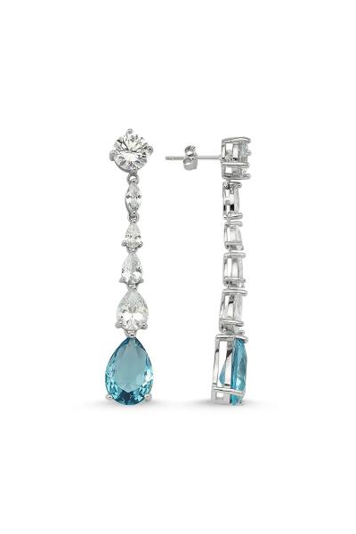 Misadel Bijoux Rafaelle Açık Mavi Beyaz Küpe