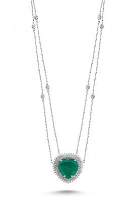 Misadel Bijoux Coeur II Çift Zincir Yeşil Taşlı Kalp Kolye