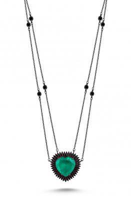 Misadel Bijoux Coeur II Çift Zincir Yeşil Taşlı Siyah Kalp Kolye
