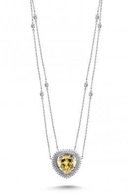 Misadel Bijoux Coeur II Çift Zincir Fancy Taşlı Kalp Kolye