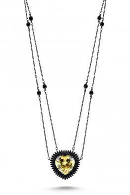 Misadel Bijoux Coeur II Çift Zincir Fancy Taşlı Siyah Kalp Kolye