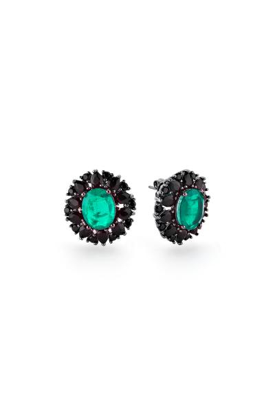 Misadel Bijoux Donna Zümrüt Yeşili Siyah Küpe