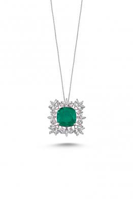 Misadel Bijoux Mikla II Zümrüt Yeşili Beyaz Kolye