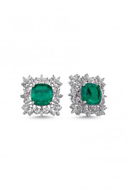 Misadel Bijoux Mikla II Zümrüt Yeşili Beyaz Küpe