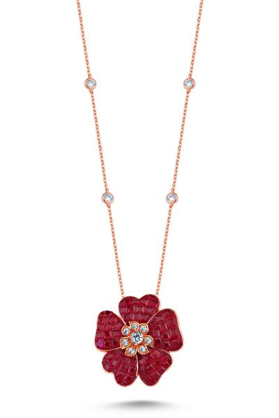 Misadel Bijoux Kırmızı Taşlı Çiçek Motifli Rose Kolye