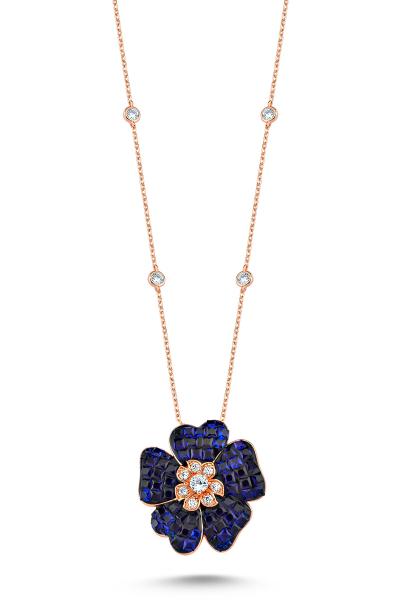 Misadel Bijoux Lacivert Taşlı Çiçek Motifli Rose Kolye