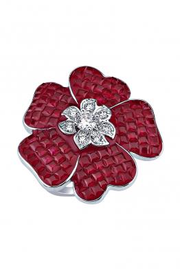 Misadel Bijoux Kırmızı Taşlı Çiçek Motifli Beyaz Yüzük