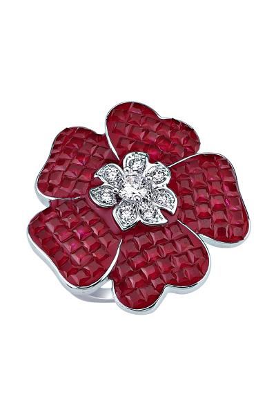 Kırmızı Taşlı Çiçek Motifli Beyaz Yüzük Kırmızı Taşlı Çiçek Motifli Beyaz Yüzük