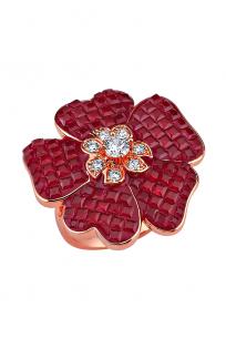 Kırmızı Taşlı Çiçek Motifli Rose Yüzük