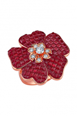 Misadel Bijoux Kırmızı Taşlı Çiçek Motifli Rose Yüzük