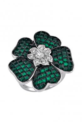 Misadel Bijoux Yeşil Taşlı Çiçek Motifli Beyaz Yüzük